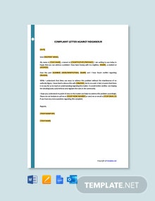 Free Complaint Letter Against Neighbour Template