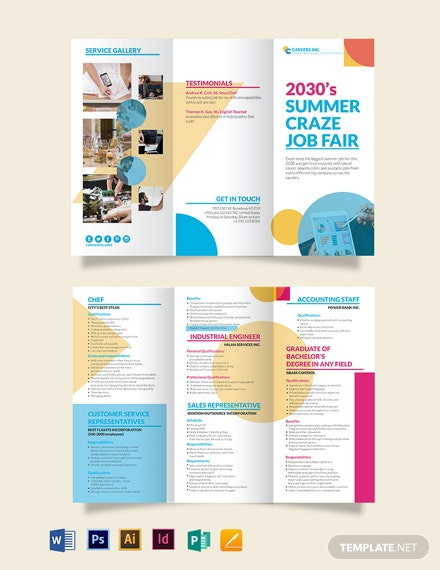 Job Fair Tri-Fold Brochure Template
