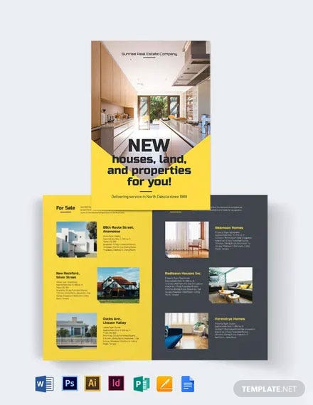 Real Estate Company Bi-Fold Brochure Template