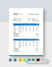 Bi Weekly Employee Timesheet Template