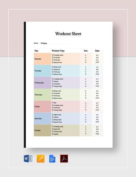Blank Workout Sheet Template