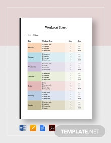 Blank Workout Sheet Template