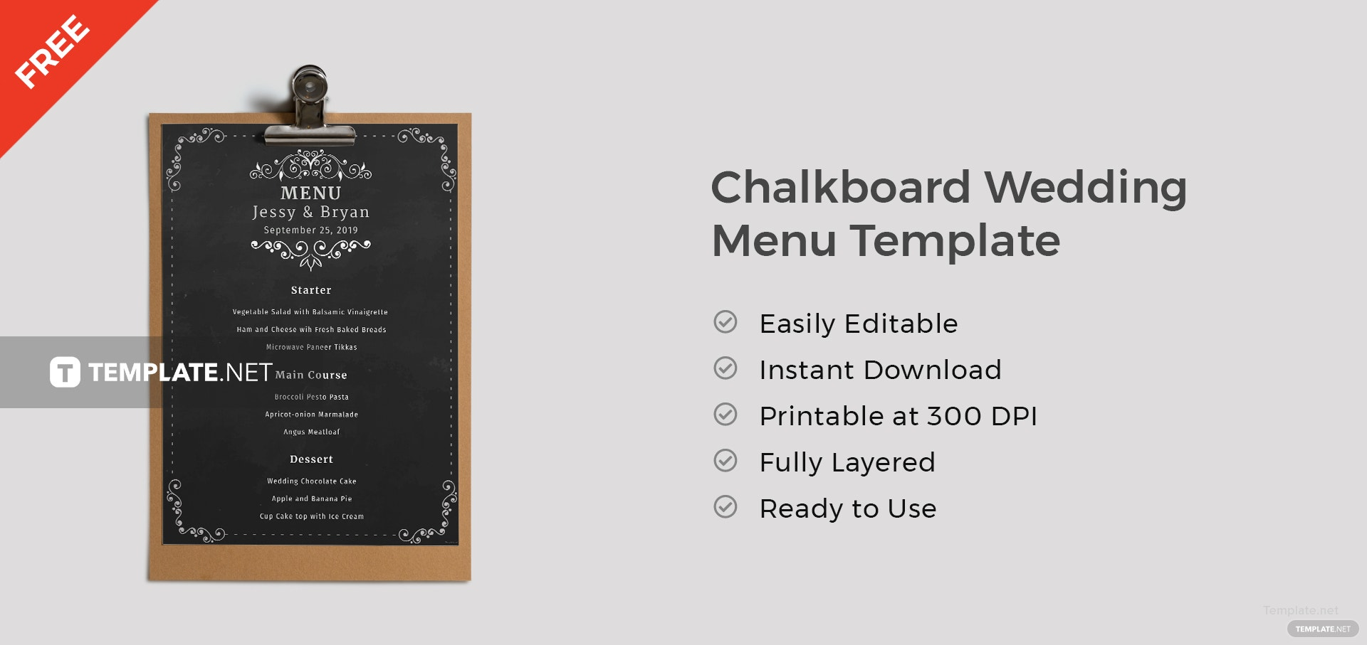 free chalkboard wedding menu template in microsoft word