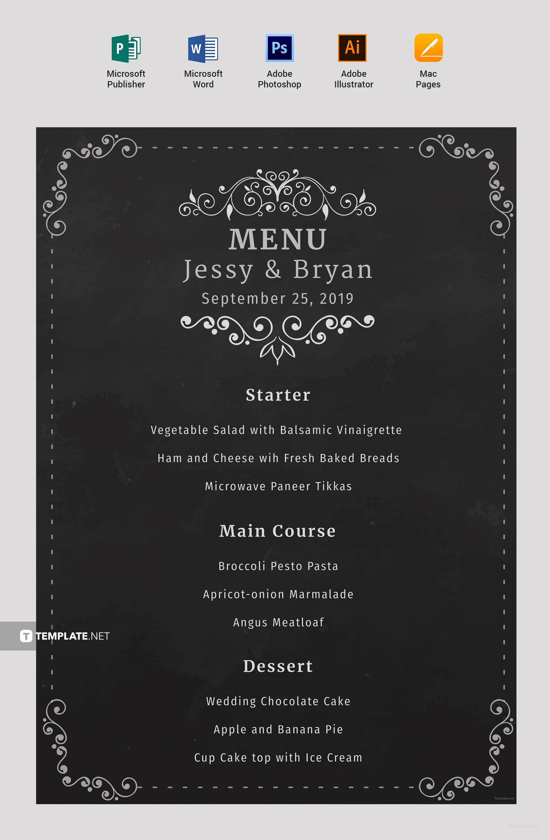 free chalkboard wedding menu template in microsoft word