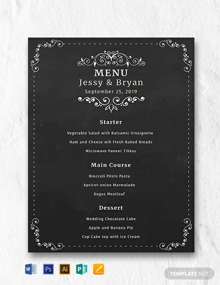 free chalkboard wedding menu template 440x570 1