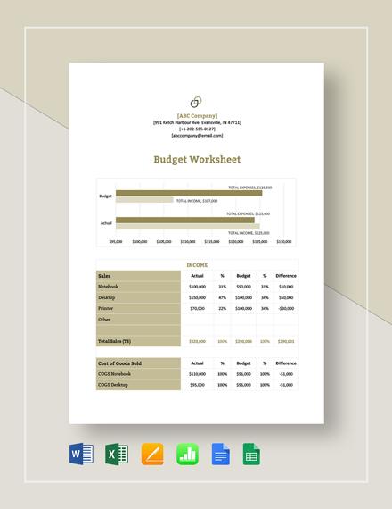 17 Printable Budget Worksheet Templates Word Pdf Excel Free Premium Templates