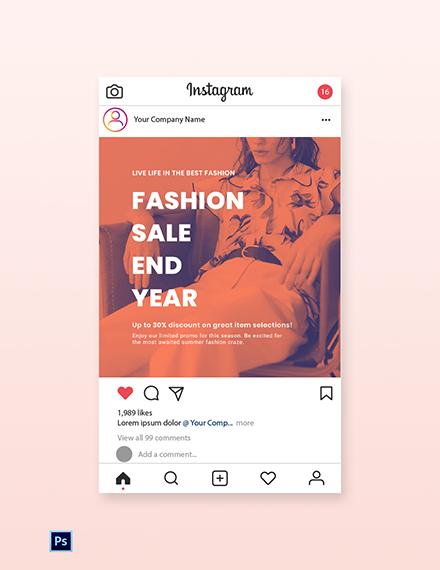 Free Minimalistic Fashion Sale Instagram Post Template