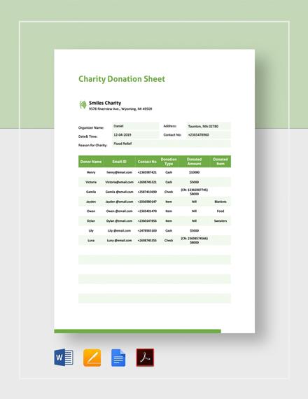 Charity Donation Sheet