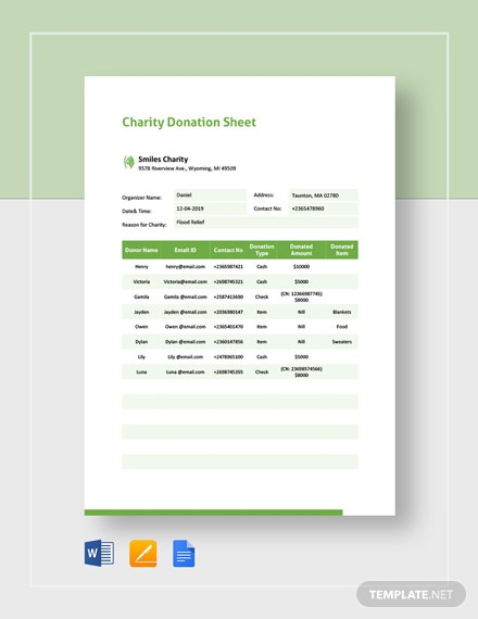 Charity Donation Sheet Template
