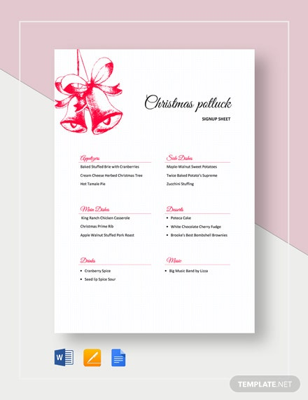 Christmas Potluck Signup Sheet Template