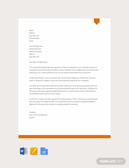 Free Complaint Letter Against Supervisor Template