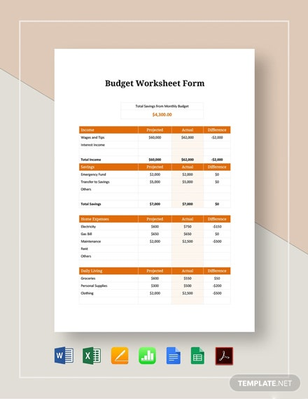 Budget Worksheet Form Template