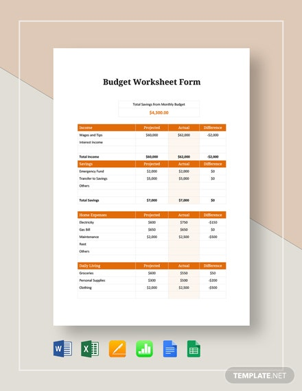 budget worksheet form