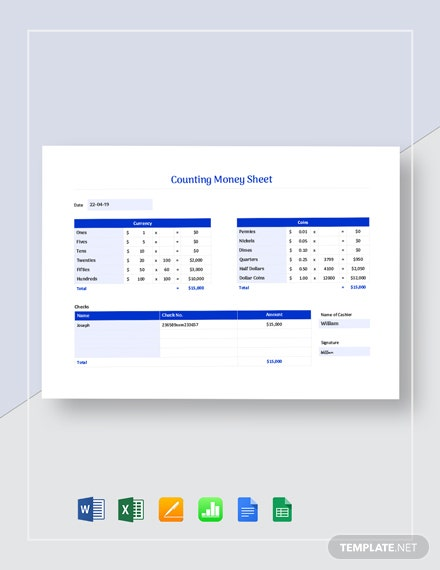 Counting Money Sheet Template