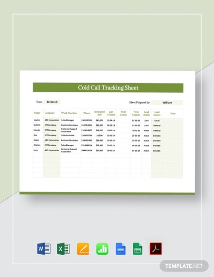 Cold Call Tracking Sheet Template