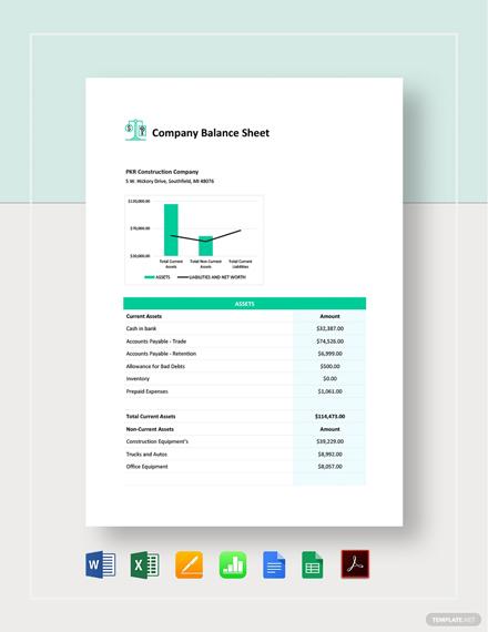 Company Balance Sheet Template