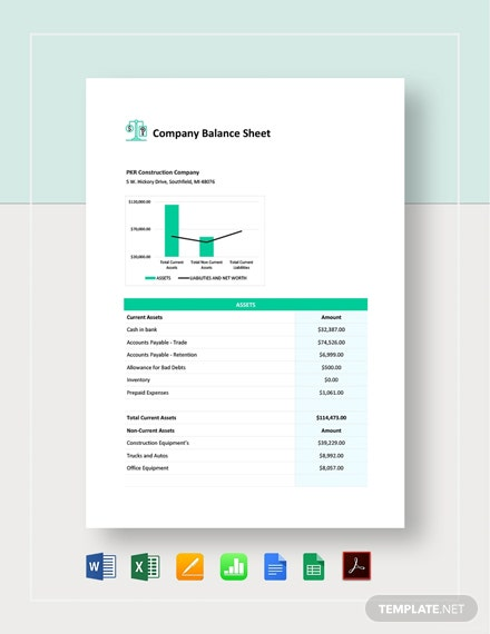 Company Balance Sheet Template