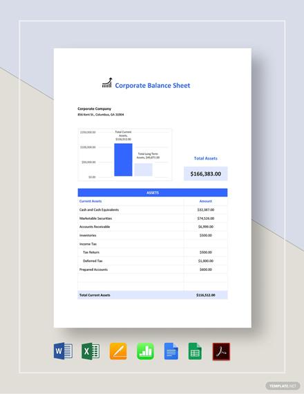 Corporate Balance Sheet Template