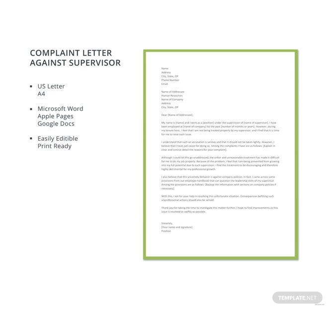 free letter of complaint against supervisor template in