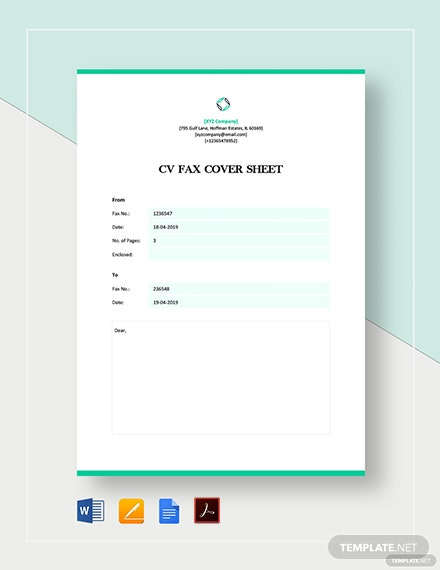 Cv Fax Cover Sheet Template Word Google Docs Apple