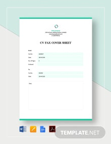 CV Fax Cover Sheet Template