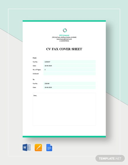 CV Fax Cover Sheet Template