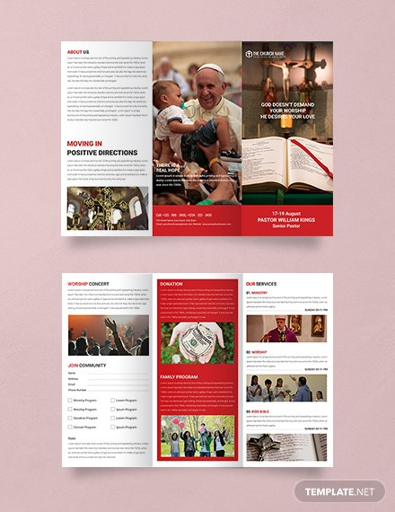 Free A3 Sample Church Brochure Template
