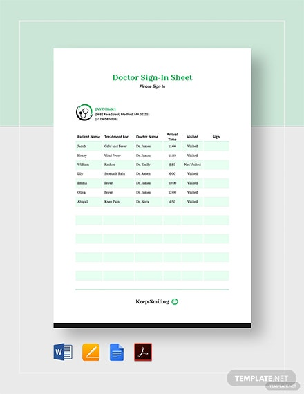 Doctor Sign In Sheet Template