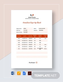 Donation Sign Up Sheet Template