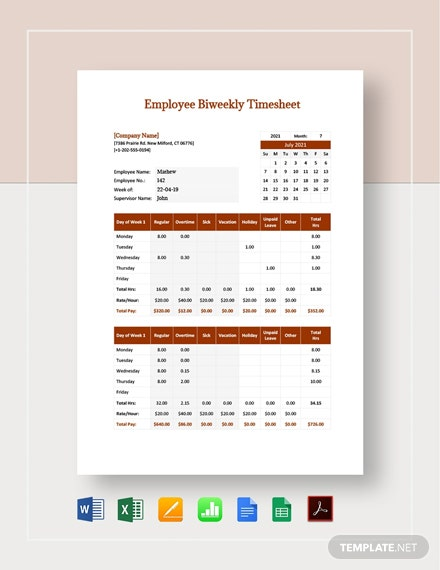 Employee Bi weekly Timesheet Template