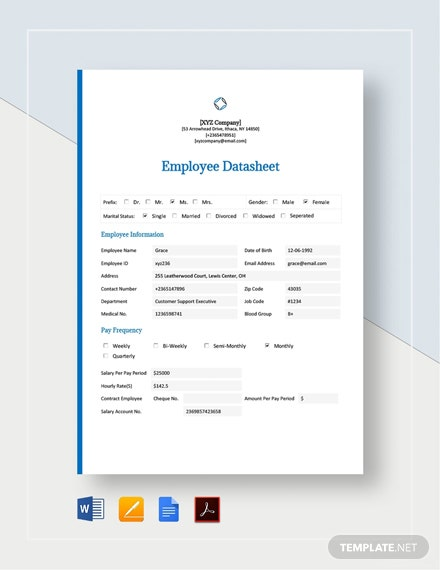 Employee Datasheet Template