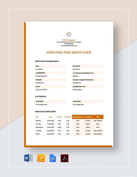 Employee Timesheet Form Template