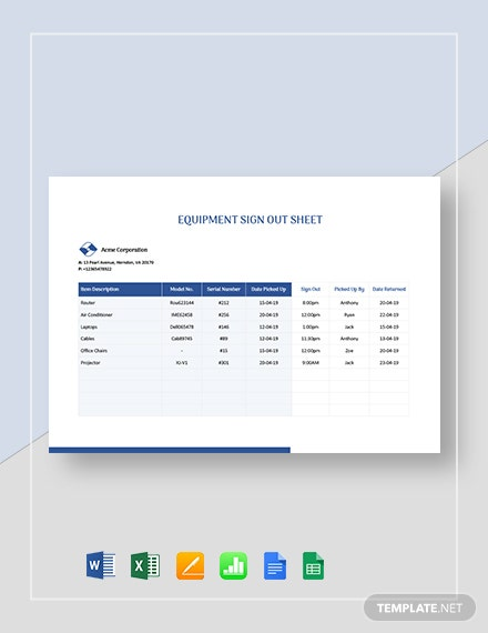 Equipment Sign-out Sheet Template