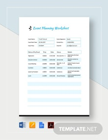 Event Planning Worksheet Template