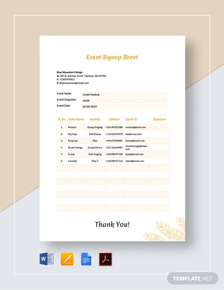 Event Signup Sheet Template