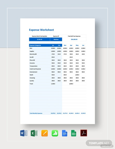 Expense Worksheet Template