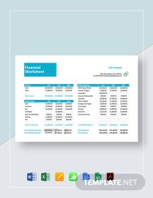 Financial Worksheet Template