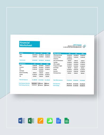 Financial Worksheet Template