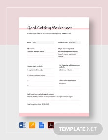 Simple Goal Setting Worksheet
