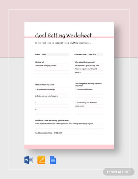 simple goal setting worksheet template