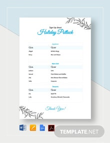 Holiday Potluck Signup Sheet Template