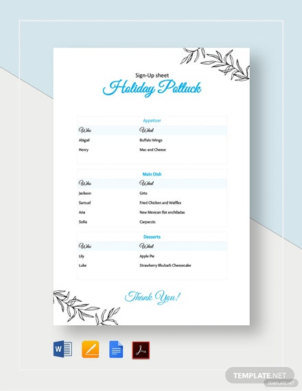 Holiday Potluck Signup Sheet Template Word Google Docs