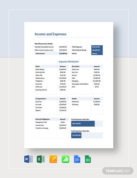 Income and Expense Worksheet Template