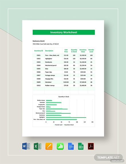 Inventory Worksheet Template