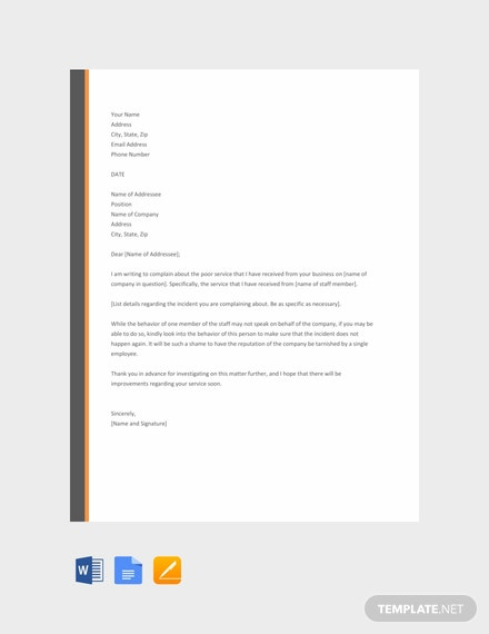 Free Complaint Letter for Poor Service Template