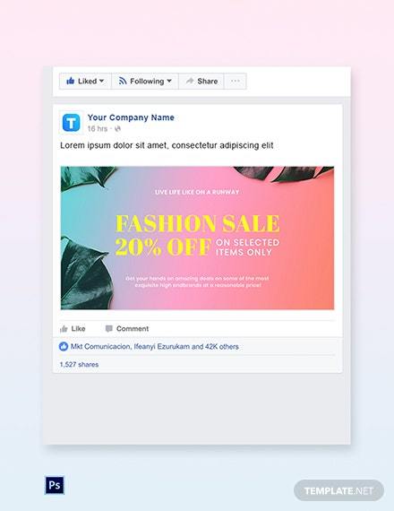 Free Basic Fashion Sale Facebook Post Template