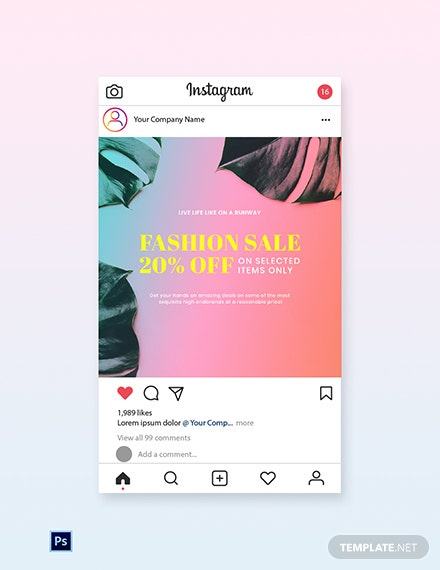 Free Basic Fashion Sale Instagram Post Template