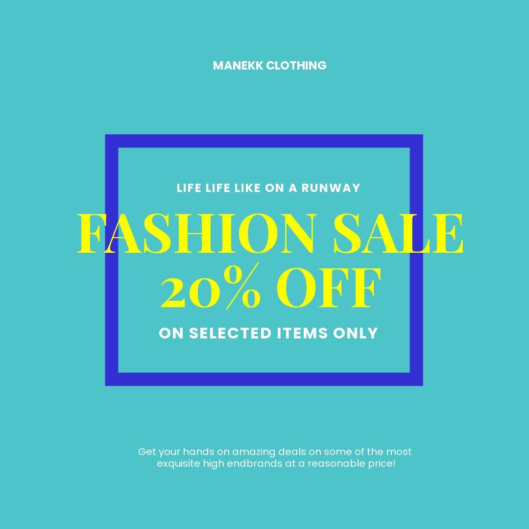 Free Basic Fashion Sale Instagram Post Template