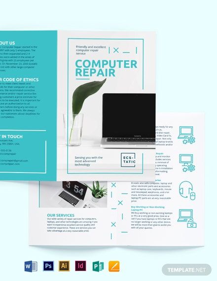 Computer Repair Shop Bi-Fold Brochure Template