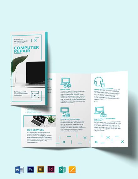 Computer Repair Shop Tri-Fold Brochure Template
